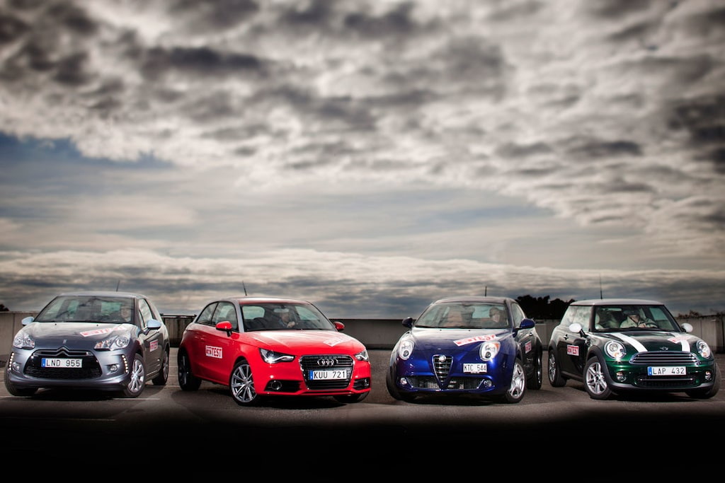 Citroën DS3, Audi A1, Alfa Romeo MiTo och Mini Cooper.