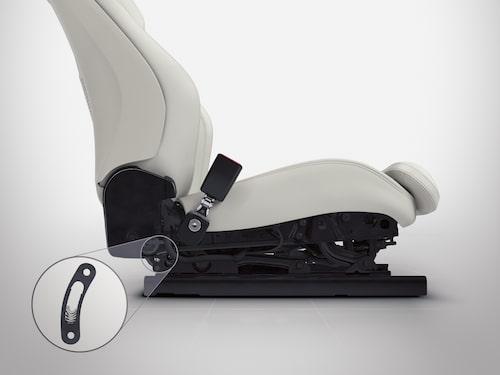 Ny, stötabsorberande teknik i stolarna ska minska risken för ryggskador.