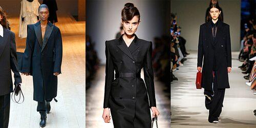 Svarta kappor direkt från catwalken. Här från Céline, Bottega Veneta och Victoria Beckham.