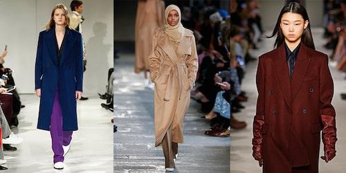 Enfärgade höstkappor direkt från catwalken. Här från Calvin Klein, Max Mara och Victoria Beckham.