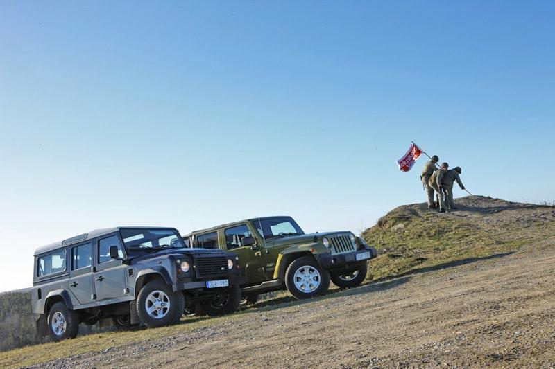 Provkörning av Jeep Wrangler 2,8 CRD Sahara Unlimited mot Land Rover Defender 110 TD4