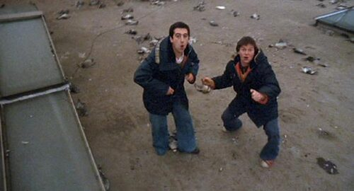 "Scen ur filmen ""24 Hour Party People"", Danny Cunningham till höger."