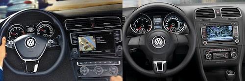 Nya Volkswagen Golf generation sju jämfört med dagens generation sex.