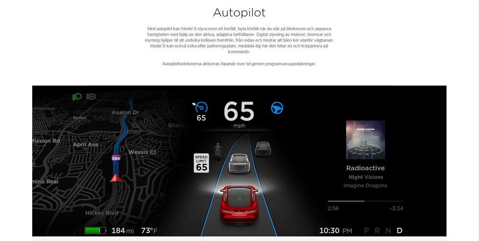Skärmdump från från Teslas svenska webbplats.