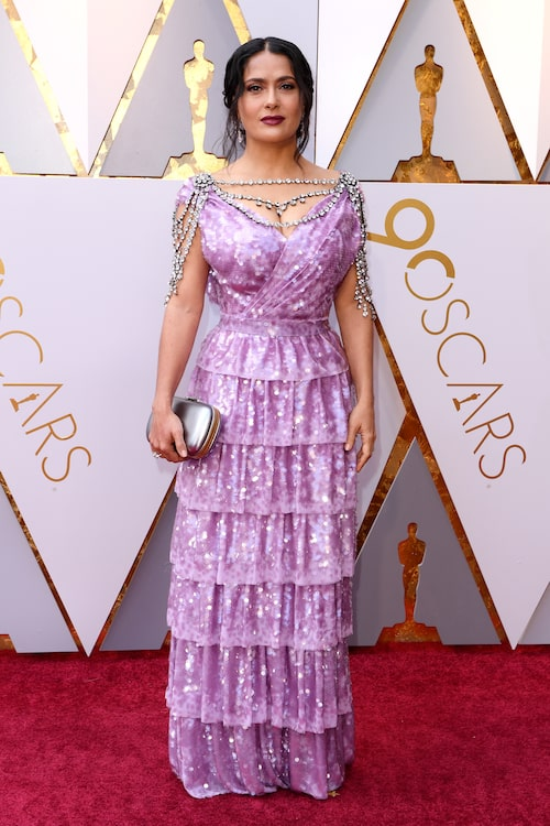 Salma Hayek i skräddarsydd Gucci-klänning.