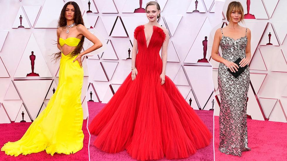 Oscarsgalan 2021: klänningar på röda mattan.