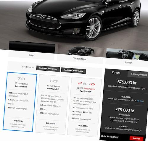 Teslas hemsida 5augusti 2015. Nej, Model S kostar inte 675 000 kronor. Inte heller 775 000 kronor. Det faktiska priset, 778 950 kronor, når man först när man valt modellen och lagt ihop alla dolda kostnader och tagit bort alla otydliga avdrag.