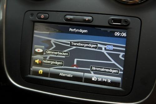 Stor sjutumsskärm som är lättnavigerad och tydlig, modernt Dacia!