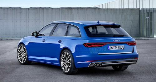 Så här föreställde vi oss nya Audi A6 Avant hösten 2016. Notera sammankopplingen av bakljusen. Illustration: Erik Andrén