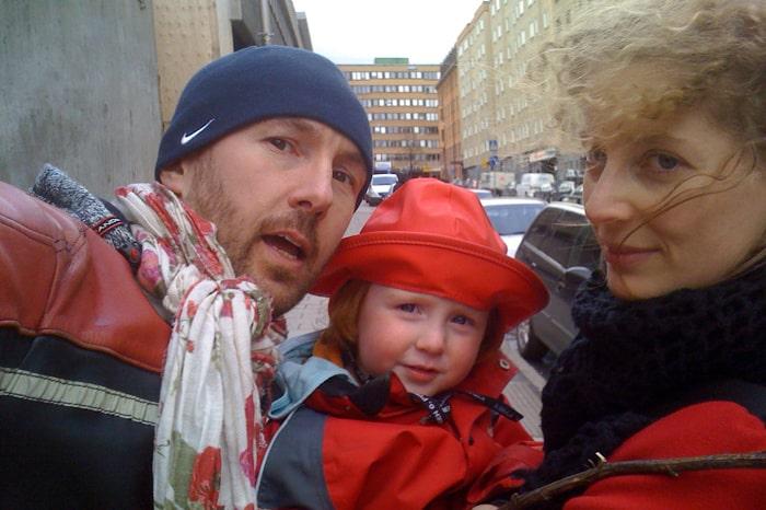 Olle Sarri med sambon Anna Littorin och dottern Ellen, 3.