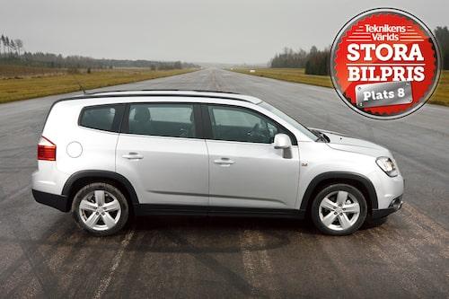 Plats 8: Chevrolet Orlando. Motivering: För samma pengar som en småbil köper man en Chevrolet Orlando med plats för sju åkande. Allra bäst givetvis med dieselmaskin, bensinversionen blir surrig i längden.