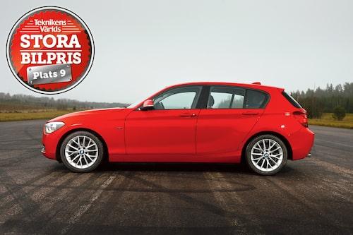 Plats 9: BMW 1-serie. Motivering: Delikat, och nästan som en stor bil att köra, erbjuder 1-serie – särskilt med den effektiva  20d-motorn – tajt sportbilskänsla!