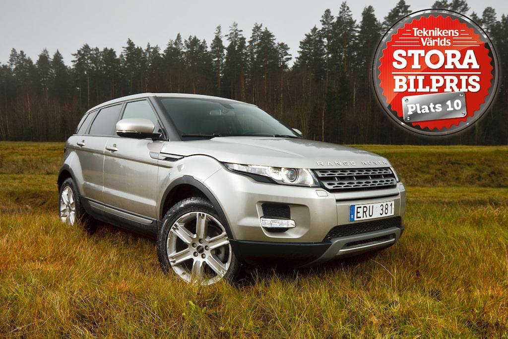 Plats 10: Range Rover Evoque. Motivering: Med helt egen stil i format och design sticker Evoque ut ur massan på ett befriande sätt. Känslorna först!