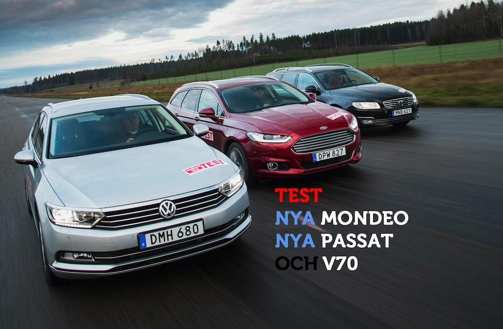 Test mellan nya Volkswagen Passat Sportscombi, nya Ford Mondeo Kombi och Volvo V70.