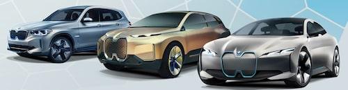 Konceptbilarna Concept iX3, Vision iNext och i Vision Dynamics, alla med förenade njurar i nosen.