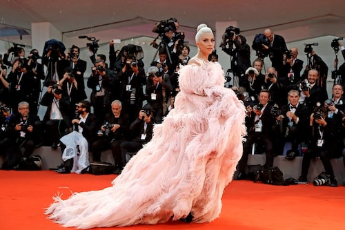 Lady Gaga på Cannes filmfestival inför premiären av A star is born.