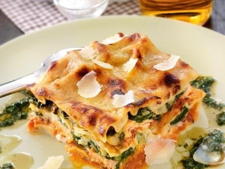 Lasagne, lax och spenat