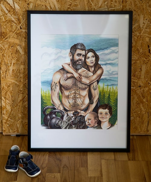 Hela familjen Zackari Wahlström, en illustration av Anna Ileby, som prydde omslaget på Kalles senaste bok, Starkare som en björn, snabbare som en örn.
