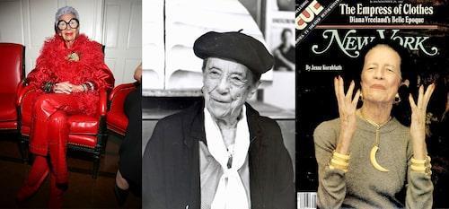 Kvinnor som inspirerar Sophie Gyllenhammar:Iris Apfel, Louise Bourgeois & Diana Vreeland.