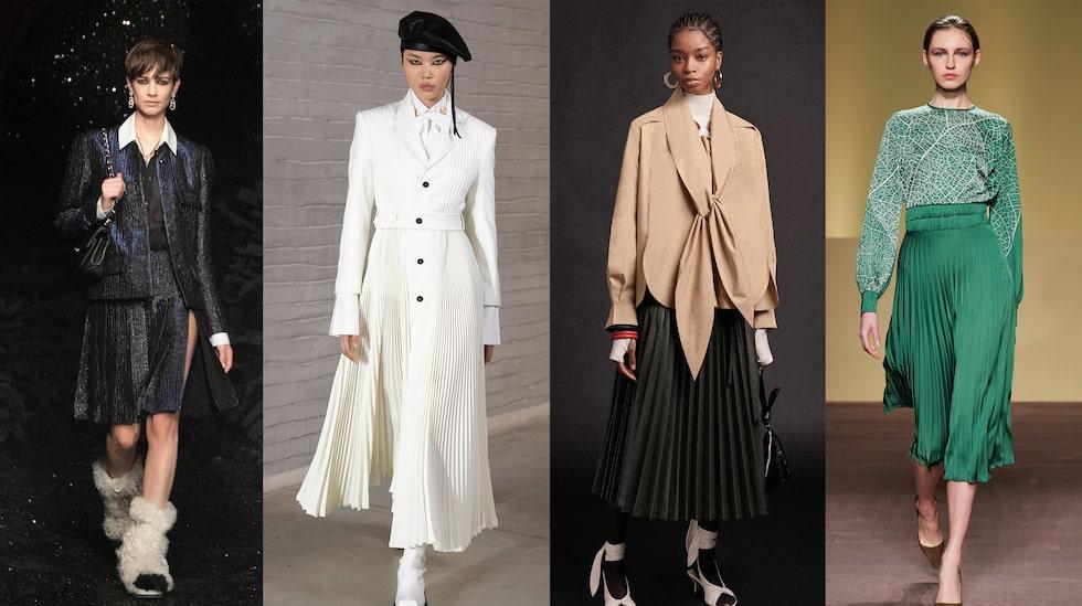 Plisserad kjol hos Chanel, Philosophy, Phillip Lim och Budapest Select.