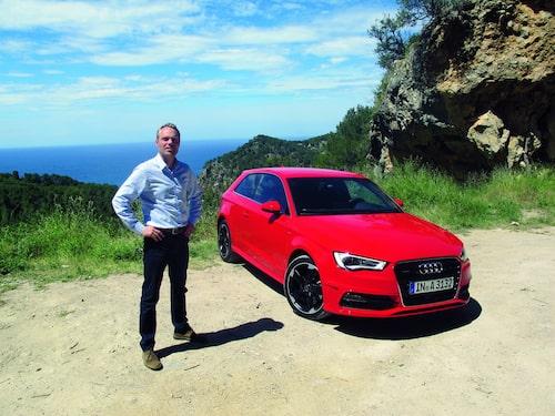 David Lilja och Audi A3 bröstar upp sig på Mallis.