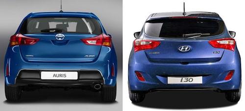Nya Toyota Auris är väldigt lik nya Hyundai i30 bakifrån.