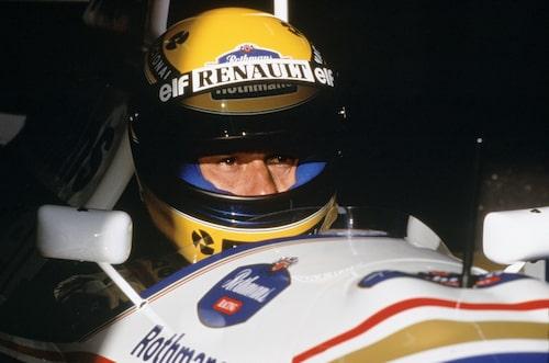1994 Ayrton Senna laddad i sin Williams-bil.