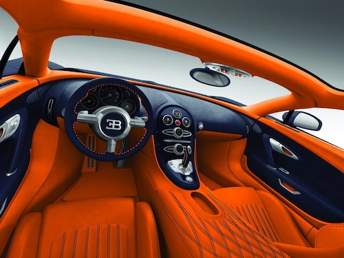 Bugatti Veyron Grand Sport i blå kolfiber.
