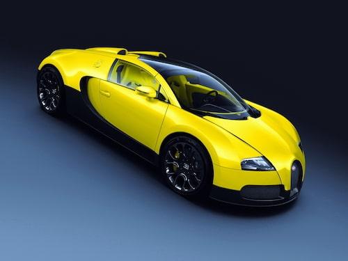 Bugatti Veyron Grand Sport i gult och svart.