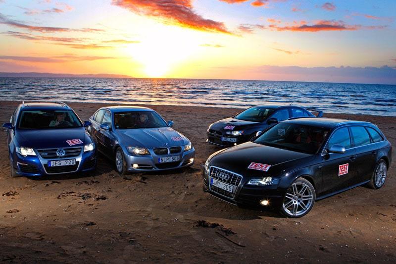 Volkswagen Passat R36, BMW 335i, Mitsubishi Lancer Evolution och Audi S4.