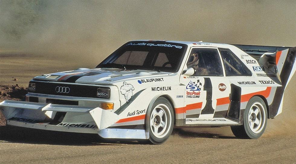 Walter Röhrl 1987 i sin Audi Sport quattro S1