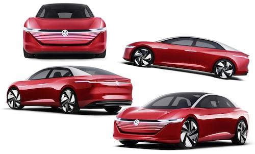 En av Volkswagen alla hittills visade eldrivna konceptbilar basxerade på MEB-plattformen. Just denna går under namnet I.D. Vizzion.