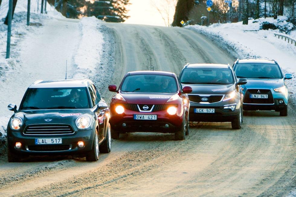 Mini Countryman, Nissan Juke, Kia Sportage och Mitsubishi ASX.