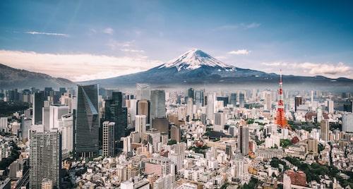 Här syns bland annat Tokyo Tower och Mt Fuji i bakgrunden.