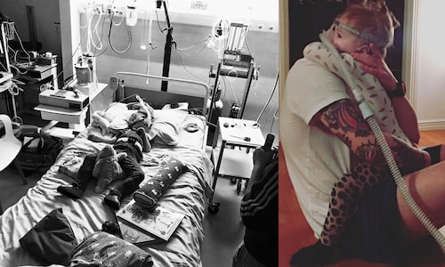 Sjukhusbesöken avlöser i perioder varandra, men det finns alltid tid för långa varma kramar... <3. (Roy till vänster, Viggo till höger).