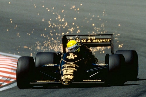 Under turbons storhetstid levererade man bland annat motorer till Lotus. Här Ayrton Senna på belgiska Spa 1986.