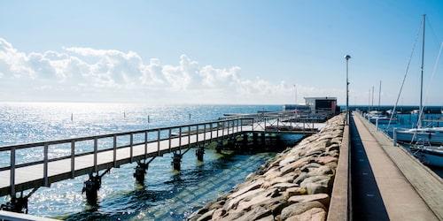 Havsutsikt från hamnen i Höganäs. Foto: Per Sjöborg