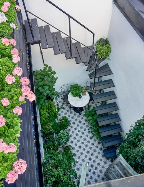 Prunkande bo. På den nedre terrassen intas frukosten. Trappan binder samman den undre terrassen med den övre.