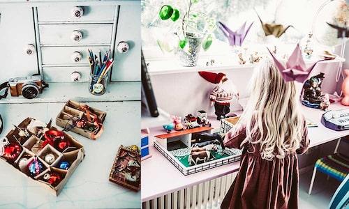 Hela Mys hem är fullt av vackra ting, som de här sköra vintagekulorna, inköpta i antikaffären intill bageriet i Halmstad.