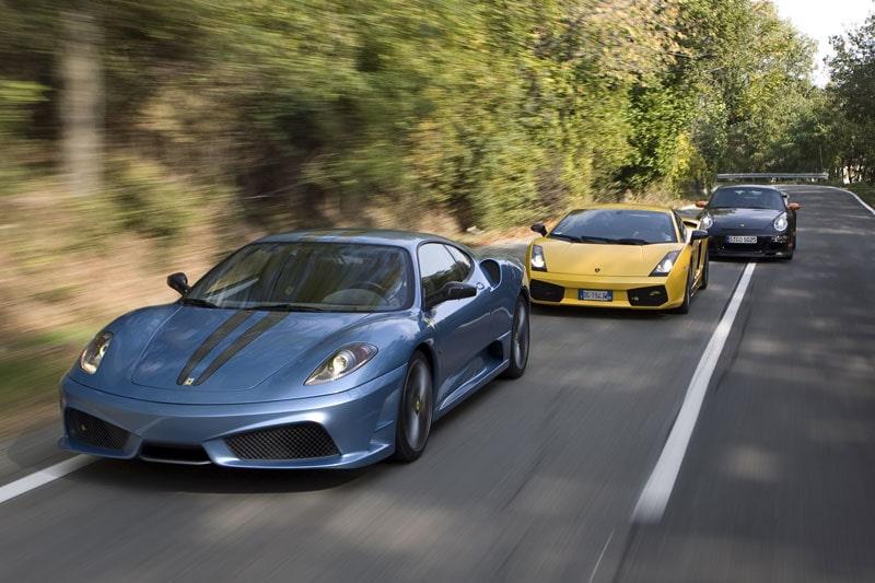 Vilken supertrio! Ferrari 430 Scuderia, Lamborghini Gallardo Superleggera och Porsche 911 GT3 RS.