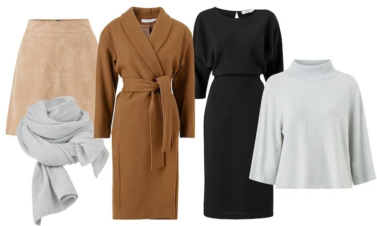 Mockakjol, scarf av kashmirmix, kappa av ullmix, klänning av crêpe, tröja av kashmirmix.