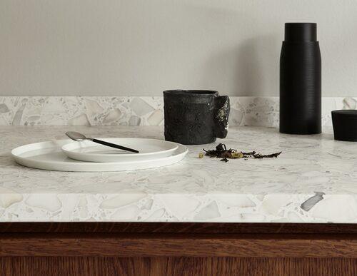 Bänkskiva i terrazzo-marmor. Foto: Nordiska kök