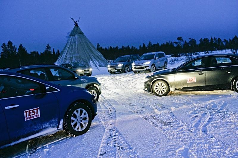 Audi A4, Citroën C-Crosser, Mazda CX-7, Subaru Tribeca, Volkswagen Tiguan och Volvo V50 i fyrhjulsdriftstest.