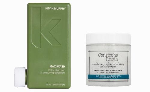 Maxi wash detox shampo från Kevin Murphy och Cleansing purifying scrub with sea salt från Christoph Robin.