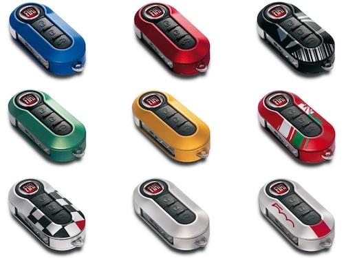Nycklarna kan fås i nio olika färger. Sammanlagt kan en nya Fiat 500 specificeras i över 500 000 olika versioner.