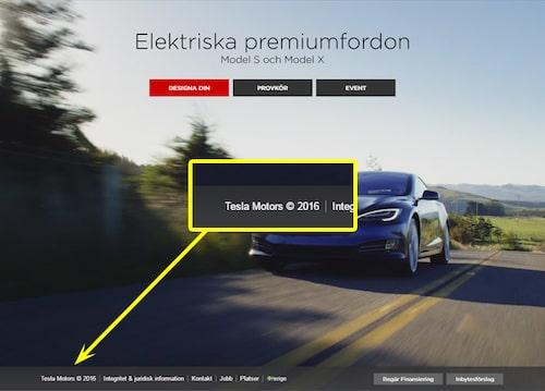 Så här stod det i sidfoten på Teslas webbplats 2016...