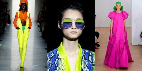 Neonfärger i alla skalor var den självklara trendfärgen på catwalken SS19. T.v: Jeremy Scott, Emporio Armani, Emilia Wickstead.