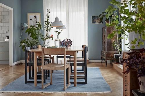 Som i skogen - grönska och blandade träslag. Matbord och stolar är köpta på nätauktion. Vägglampan är ett loppisfynd. Taklamporna är köpta på Blocket. Matta, Ullmans mattor. Väggfärgen är Jotun 5241 Prismagrön.
