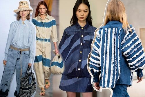 Denim från topp till tå för dam våren 2020. Dior, Alberta Ferretti och Chanel.