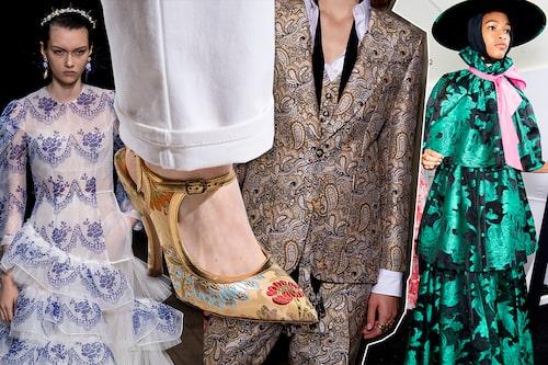 Stig tillbaka flera hundra år i tiden med vårens heta barock-trend. Stilen syntes hos Simone Rocha, Dries van Noten, Etro och Erdem.